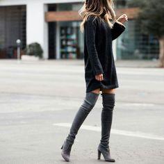 Sweater & thigh high boots. ❤