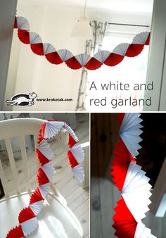 A white and red garland Class Decoration, School Decorations, Valentines Day Decorations, Valentine Day Crafts, Christmas Decorations, Cardboard Crafts Kids, Paper Crafts, Kirigami, Red Garland