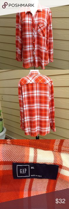 "Gap Plaid, Button-up Shirt Very soft fabric, excellent condition, bust is 44"" and length from shoulder is 29"" GAP Tops Button Down Shirts"