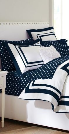 PB Teen navy blue and white bedding LOVE