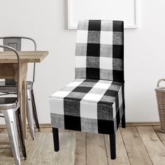 (1) IKEA Bergmund Dining Chair Cover, Plaid Buffalo Check Black   affordable, designer, custom, handmade, trendy, fashionable, locally made, high quality Ikea Dining Chair, Dining Chair Covers, Buffalo Check, Slipcovers, Farmhouse Decor, Accent Chairs, Cushions, Plaid, Black And White