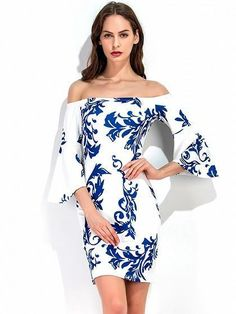 White Off Shoulder Porcelain Print Flare Sleeve Bodycon Dress