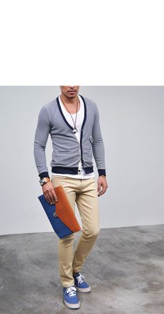 Outerwear :: Cardigans :: Nautical Navy Stripe Slim Wool-Cardigan 21 - Mens Fashion Clothing For An Attractive Guy Look