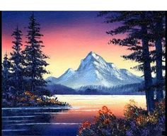 Dusk at the Lake / Small & Simple Oil Painting Exercise Acrylic Painting Tutorials, Painting Videos, Painting Lessons, Painting Techniques, Painting & Drawing, Simple Oil Painting, Bob Ross Paintings, Mountain Paintings, Abstract Photography