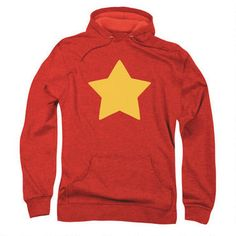 You'll look just like Steven Universe in this cozy hooded red sweatshirt complete with yellow star. This ring spun preshrunk French Terry hoodie is 55% cotton/45% polyester. It features a drawstring hood and ribbed cuffs and waistband, along with a roomy front pouch pocket. Machine wash cold with like colors. Only non-chlorine bleach when needed. Tumble dry low. Do not iron or dry clean.