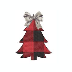 Gingham Christmas Tree with Bow Christmas Embroidery Design PES BX All Formats Herrington Design Instant Download Monogram Buffalo Check Holiday