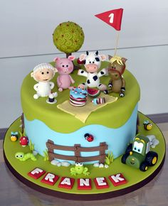 Farm animals picnic cake - Cake by Crumb Avenue Farm Birthday Cakes, Animal Birthday Cakes, Farm Animal Birthday, Birthday Ideas, Cute Cakes, Fancy Cakes, Farm Animal Cakes, Farm Animals, Animal Cakes For Kids