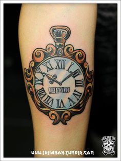 My clock tattoo (for the birth of my son) - clock pocket watch timepiece