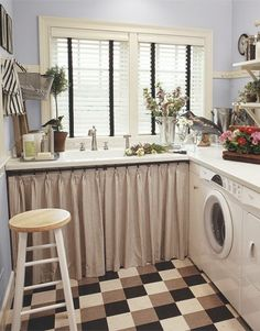 Love this laundry room ~ homey & lots of counter space for folding! | fabuloushomeblog.comfabuloushomeblog.com