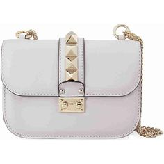 Valentino Rockstud Lock Small Leather Shoulder Bag - White ($1,295) ❤ liked on Polyvore featuring bags, handbags, shoulder bags, white purse, valentino handbags, white leather handbags, valentino purses and leather handbags