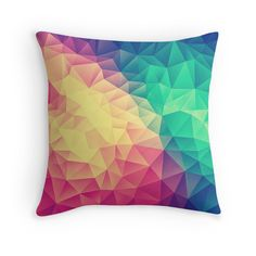 9fd261a5 'Abstract Polygon Multi Color Cubism Low Poly Triangle Design' Throw Pillow  by badbugs