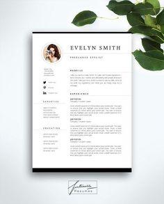 """Lebenslauf Vorlage 3 Seite / Lebenslauf-Vorlage + Anschreiben / Instant Download für MS Word / """"Evelyn"""""""