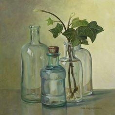 green - bottles with ivy - Still Life - painting - Pita Vreugdenhil Still Life Drawing, Painting Still Life, Still Life Artists, Still Life Photography, Botanical Art, Painting Inspiration, Painting & Drawing, Watercolor Paintings, Acrylic Paintings