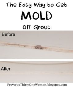The Easy Way to Get Mold Off Grout So.I have this embarrassing problem. The grout in one of our bathrooms is perpetually moldy. It's not for lack of trying to clean it, thou. Cleaning Mold, Household Cleaning Tips, Deep Cleaning Tips, Toilet Cleaning, Cleaning Recipes, House Cleaning Tips, Diy Cleaning Products, Spring Cleaning, Cleaning Hacks