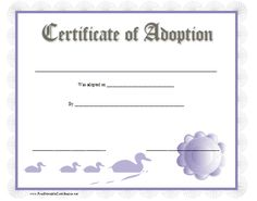 Pin by tuesday deon on pets life 3 pinterest pet life this printable certificate of baby adoption has a light blue scalloped border a 3d ribbon yadclub