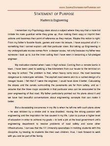 Graduate School Statement of Purpose Sample http://www ...