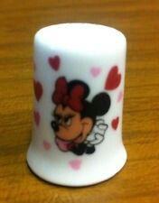 Disney Minnie Mouse Red Pink Hearts Porcelain Thimble Bone China Vtg $21.00