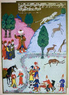 """Hünername'den nakkaş Osman çizimi ile """"Yıldırım Bayezid (1. Bayezid)'in Yenişehir'de avlanması."""" minyatürü."""
