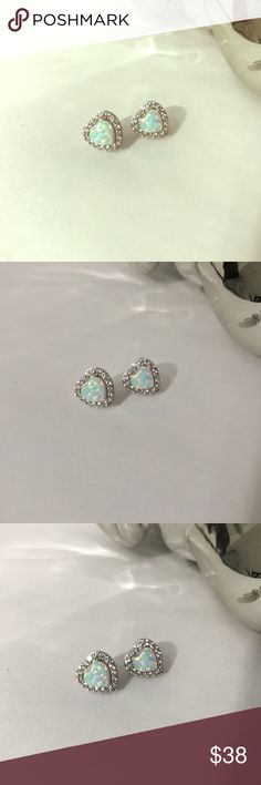 Opal stone Heart earrings Never worn. Material is 925 Rhodium-plated silver.   Box is for display purpose only! Jewelry Earrings