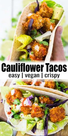 These vegan cauliflower tacos with vegan yogurt garlic sauce are the perfect comfort food They re super crispy easy to make and sooo delicious Find more easy vegan dinner recipes at Easy Vegan Dinner, Vegan Dinner Recipes, Veggie Recipes, Whole Food Recipes, Cooking Recipes, Super Food Recipes, Healthy Vegan Recipes, Easy Recipes, Healthy Delicious Dinner Recipes