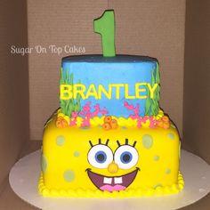 SpongeBob cake! Facebook.com/SugarOnTopCakes  Sugarontopcakesandsweets.com