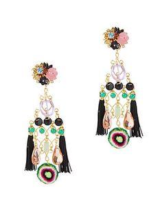 Mercedes Salazar Double Fringe Earrings: Black Multi