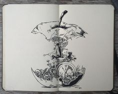 For apple core hourglass painting: Moleskine art by Gabriel Picolo Tattoo Sketches, Tattoo Drawings, Body Art Tattoos, Art Sketches, Tattoo Illustrations, Ear Tattoos, Arte Sketchbook, Bild Tattoos, Pen Art