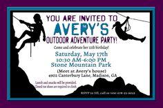 Zipline birthday party invitation invite zip line adventure rock climbing party invitation adventure birthday invitation zipline invitation hiking invitation stopboris Gallery