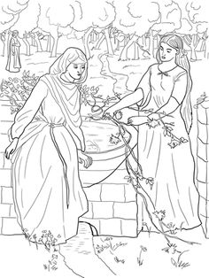 Click Rachel and Leah Coloring page for printable version