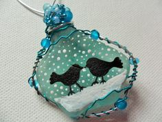 Lovebirds in the snow hanging christmas tree decoration- one of a kind - Large…