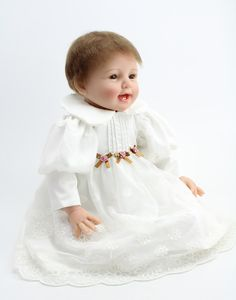 Soft Silicone Reborn Baby Dolls Realistic Lifelike Newborn Babies for Girls White Dress Vintage Baby Kids Christmas Gifts Christmas Gift Pictures, Christmas Gifts For Kids, Silicone Reborn Babies, Reborn Baby Dolls, Silikon Wiedergeborene Babys, Girls White Dress, Old Dolls, Baby Girl Newborn, Baby Pictures