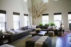 Wedding PR, Wedding Public Relations, Wedding Marketing Expert, contemporary home, wooden floors, gray couch, cream flowers, Lisa Vorce, trees, color swatch decor, black and white office ideas, chevron pots, home office ideas, succulents, metallic decor