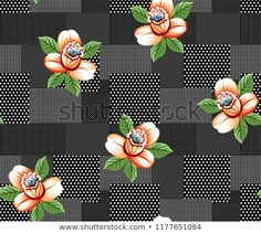 Vector Flowers Pattern On Dots Background Stock-Vektorgrafik (Lizenzfrei) 1177651084 Textile Prints, Textile Design, Fabric Design, Textiles, Pattern Mixing, Pattern Art, Print Patterns, Couture Embroidery, Embroidery Designs