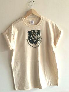 Screen Printed Bear T Shirt, S M L XL 2XL