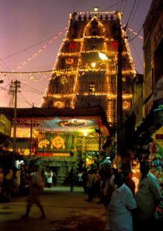The temple of Padmavathi at night, the spouse of Balaji (Venkateshvara) which is supposed to be viewed before going to get darshan of Balaji at Tirupati.