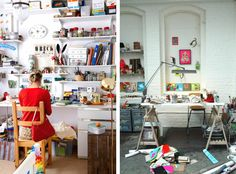 "Artists' studios | ""I can't decide if i would work best in a super clean or perfectly messy space. I am equally inspired by images of crazy organized studios and ridiculously messy ones. My current situation is halfway between, and i feel ready to commit to one side or the other."" Word!"