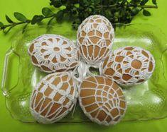 L'oeuf de Pâques en crochet couverture, ensemble de 5 à la main au crochet Pâques oeufs Pâques décoration blanc