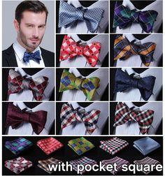 Check Men Woven Silk Wedding Self Bow Tie handkerchief Set ECC #SetSense #BowTie