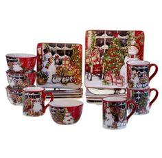 16 Pc Snowman's Decor Dinnerware Set Ceramic Desert Plates Salad Soup Bowls Mugs #CII