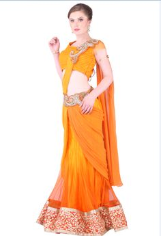 Orange Yellow Stiched Saree With Bottom Embroider