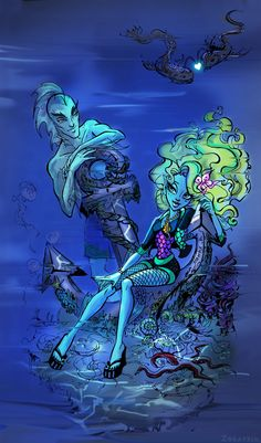 Hello, all day drawing and created another character from Monster High. This time, Lagoona Blue with Neptune I hope you like it. Soirée Monster High, Monster High House, Monster High School, Love Monster, Monster Girl, Cartoon Monsters, Cartoon Art, Ocelot, Ghibli