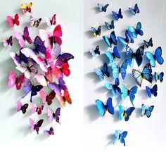 12 pz/lotto pvc 3d diy della farfalla wall stickers home decor poster per cucina bagno frigorifero adesivo da parete decalcomanie decorazione