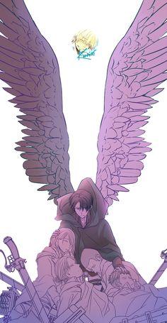 Rivaille Levi and Levi Squad - Attack on Titan / Shingeki no Kyojin Armin, Levi X Eren, Mikasa, Levi Ackerman, Manga Anime, Anime Art, Levi And Petra, Levi Squad, Sayaka Miki