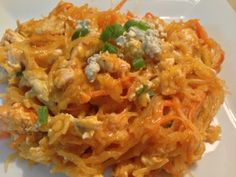 """Meggie Frue: Buffalo Chicken and Blue Cheese """"pasta"""" with Spaghetti Squash. A low carb dish perfect for South Beach Diet Phase Two and only six ingrediants (not including dry spices)"""