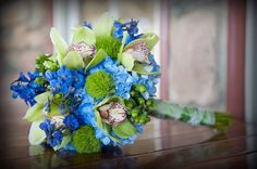 Blue and Green Wedding Bouquet design by pjs flowers.   #Weddings #Flowers