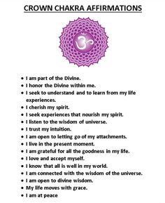Crown Chakra Affirmations.                                                                                                                                                     More