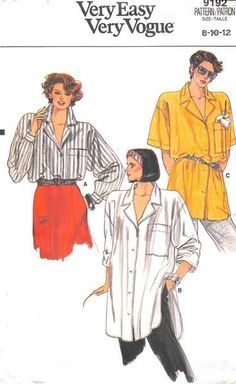 Very loose-fitting shirt has notched collar, dropped shoulders, pocket and short sleeves or long sleeves pleated into button cuffs rolled-up (wrong side shows) Narrow hem, B and C: shirttail hemline ( Vogue Sewing Patterns, Vintage Sewing Patterns, Dress Making Patterns, Church Outfits, Pattern Cutting, Dressy Outfits, Oversized Shirt, Sewing For Beginners, Pattern Books