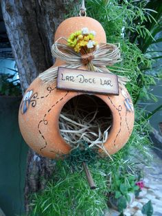Blog de carlatenorio :artesanato, Casinha de passarinho de cabaça