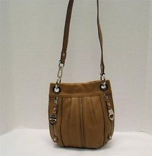 B Makowsky Light Brown Pebbled Leather Convertible Crossbody Bag Handbag Purse