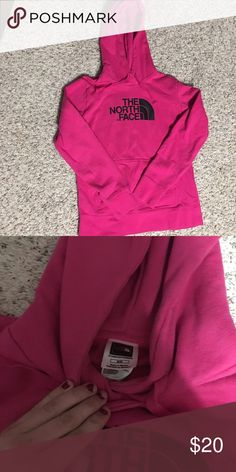 North Face Hoodie Women's size M, could fit a small! Pink hoodie with black logo. Worn a few times but in great condition. It is a thicker hoodie The North Face Tops Sweatshirts & Hoodies